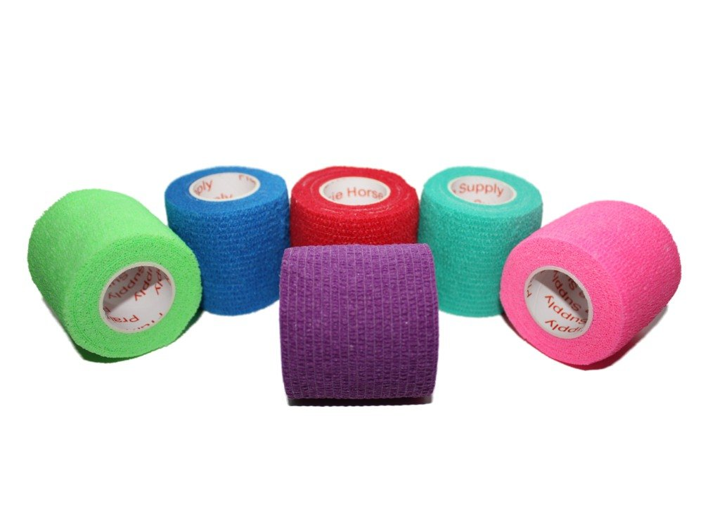 2 inch Medical Wrap Tape Bulk, FDA Approved Self Adherent Adhering Adhesive Stick Power Grip Cling Flex Bandage Rap - 2 inches x 15 Feet - 6 Rolls Assorted Colors