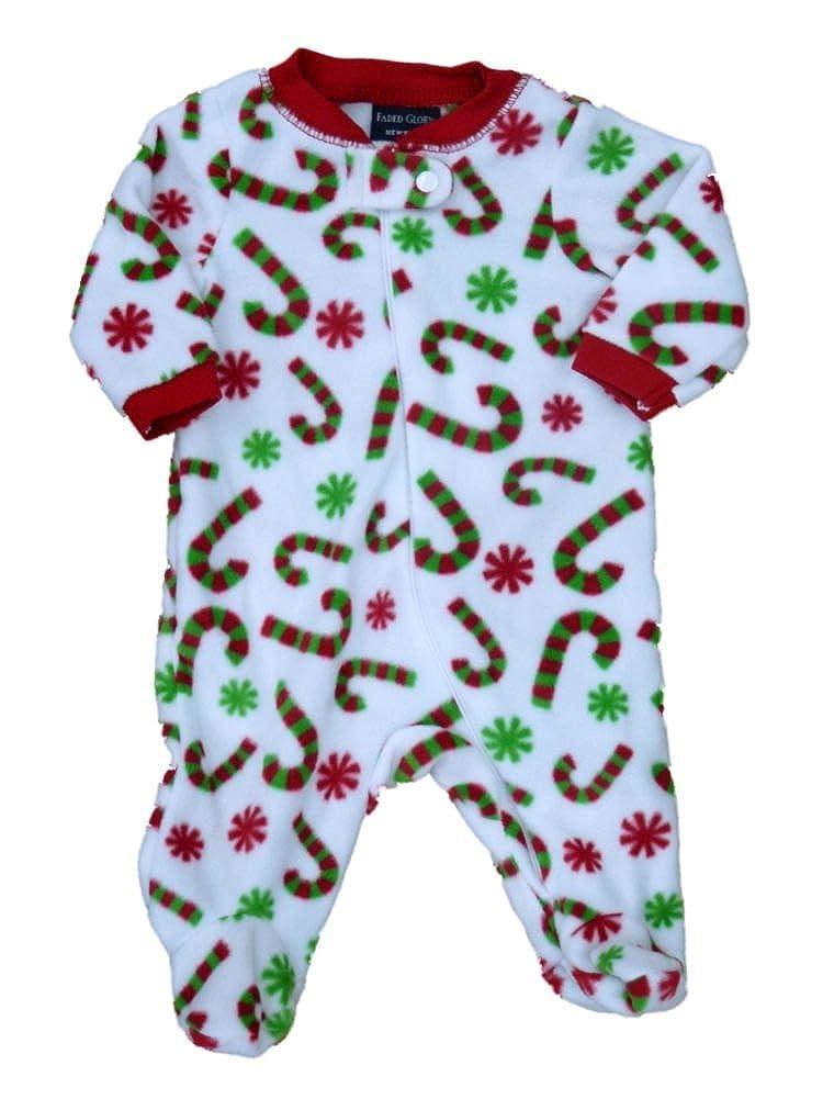 912393ed8 Amazon.com  Faded Glory Infant Boys   Girls White Fleece Candycane ...