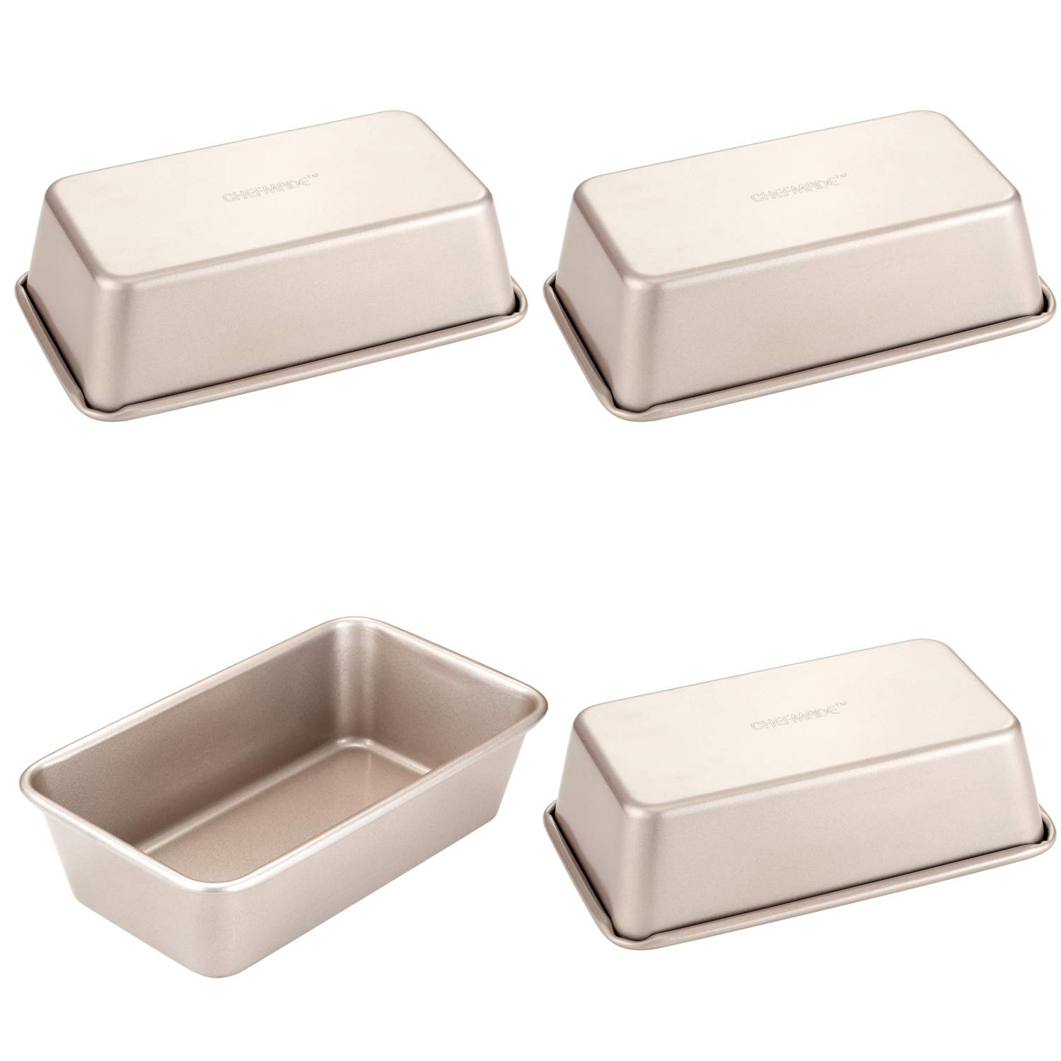 CHEFMADE Mini Rectangular Loaf Pan Set, 4Pcs 4-Inch Non-stick Carbon Steel Bread pan, FDA Approved for Oven Baking (Champagne Gold)