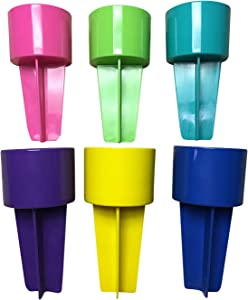 SPIKER Lifestyle Holder, beach beverage holder, beach spiker 6 pack assorted colors 1 each: pink, lime, teal, purple, yellow, royal: (add your own design, share with Family & Friends)