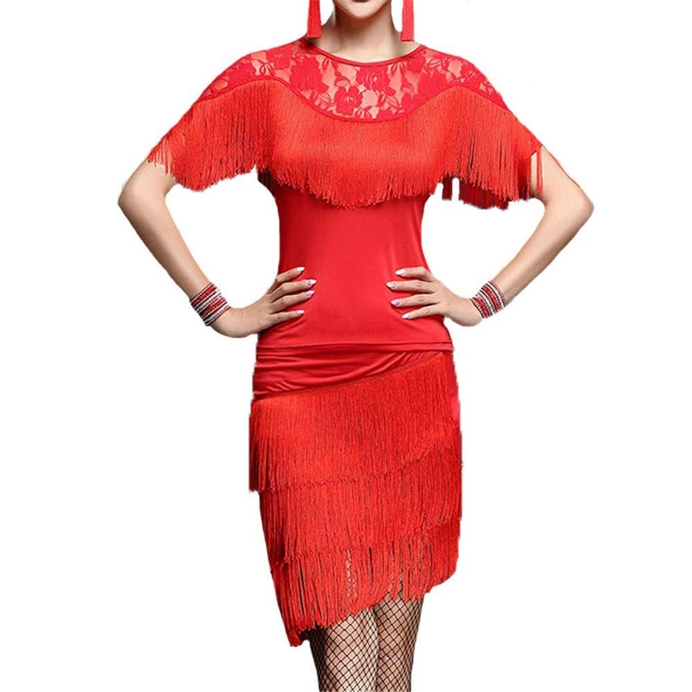 Rouge Robes de danse pour femmes Femmes glands Tango Rumba robe de danse latine tenue Outfit hommeches chauve-souris en dentelle avec jupe danse formation pratique robe salle de bal Dancewear Perforhommece Cost Large