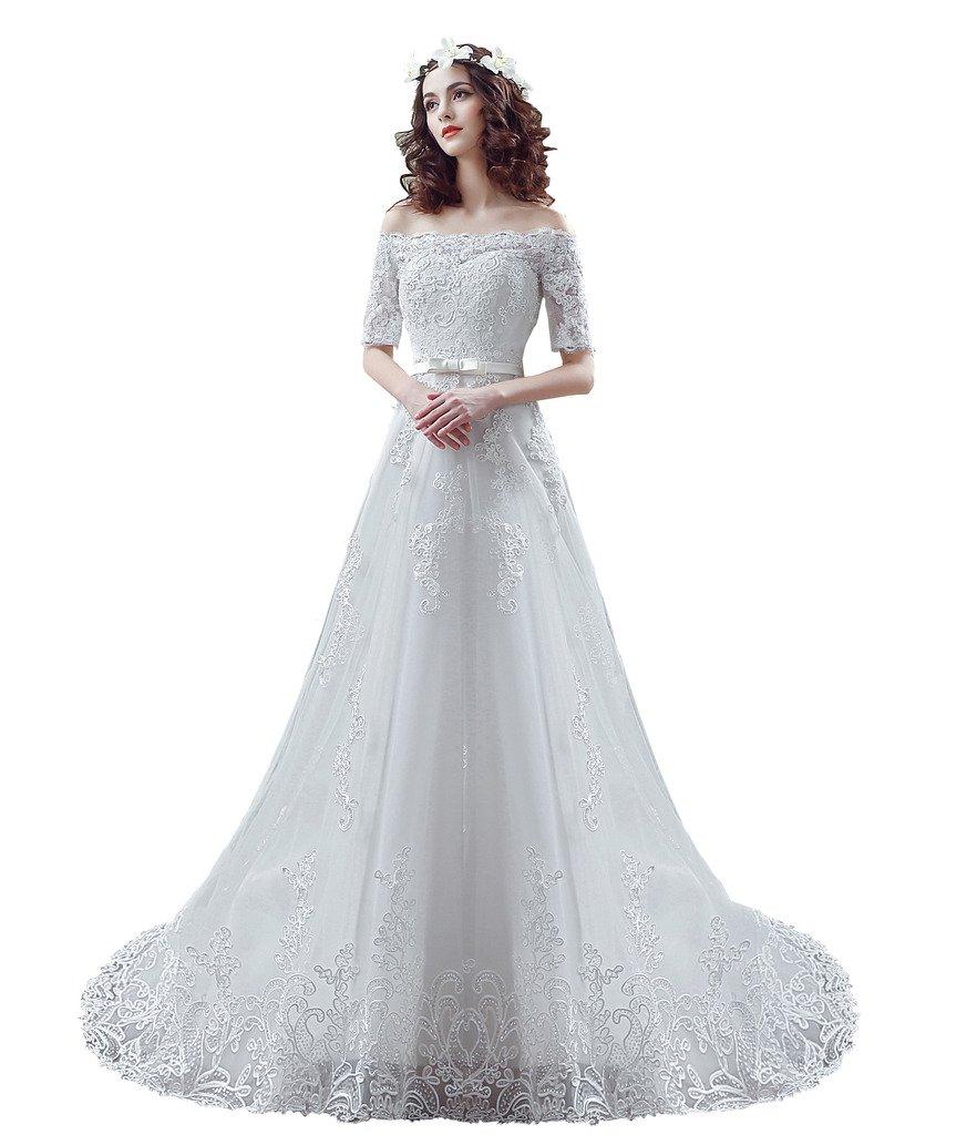BoShi Women's Lace Off the Shouler Bride Court Train Wedding Dresses US 10