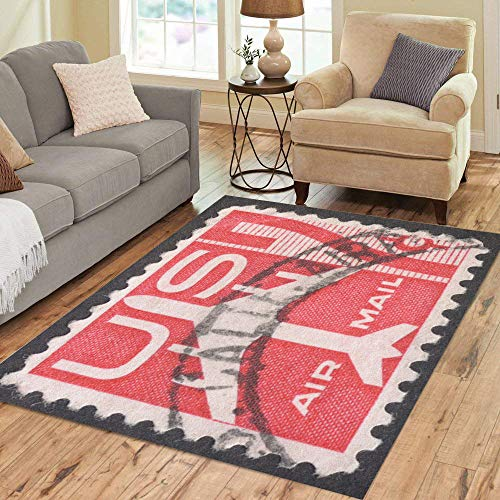 Pinbeam Area Rug Moscow Russia Circa November Post Stamp Printed Home Decor Floor Rug 5' x 7' Carpet