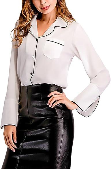 HaiDean Camisas Mujer Elegantes Camisa De Gasa Manga Larga Cuello Solapa Modernas Casual Un Solo Pecho Moda Casual Top Blusa Camisa: Amazon.es: Ropa y accesorios