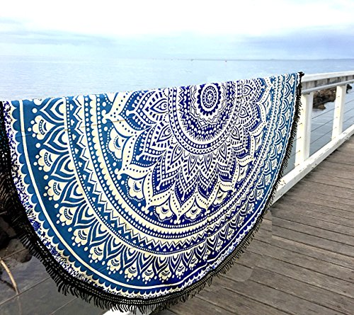 Amazon.com: Aakriti Gallery Indian Ombre Mandala Round Tapestry Roundie with frill Beach Throw Cotton Beach Towel, Round Yoga Mat with frill Beach Round ...
