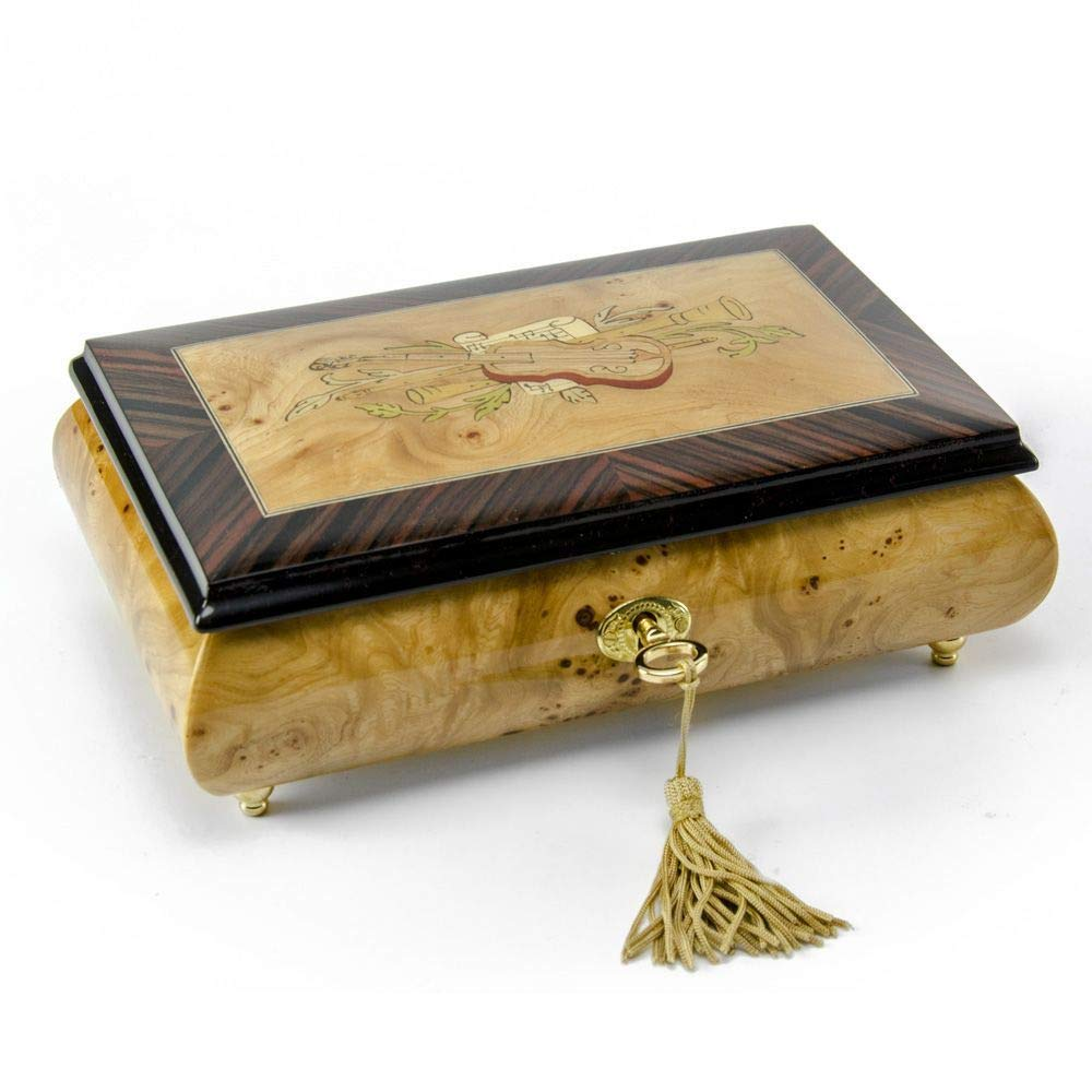 Timeless Handcrafted Musical Theme Wood Inlay Musical Jewelry Box - Over 400 Song Choices - Yellow Bird (Bergman)