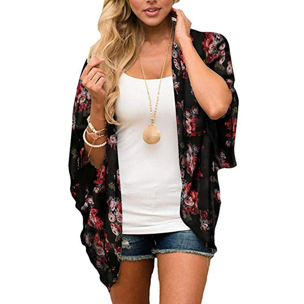 xabern Floral Kimono Cardigan,Women Casual Raglan Sleeve Print Loose Open Stitch Beach Bikini Cover-up Cover-Ups Black Red