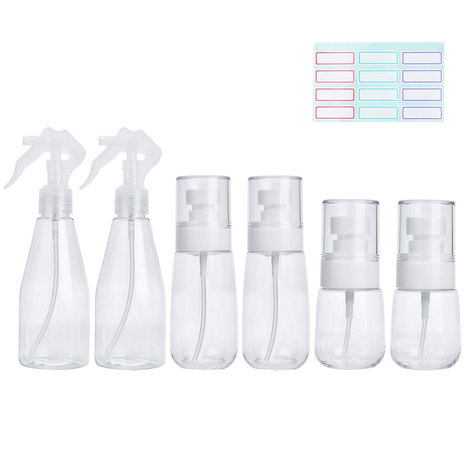 Empty Spray Bottle Set-Refillable Fine Mist Plastic Liquid Containers with 16 pcs Labels, for puting Cleaning Products/Skin Care Products. Different capacity is Great for Travel/outdoor/Resume work.
