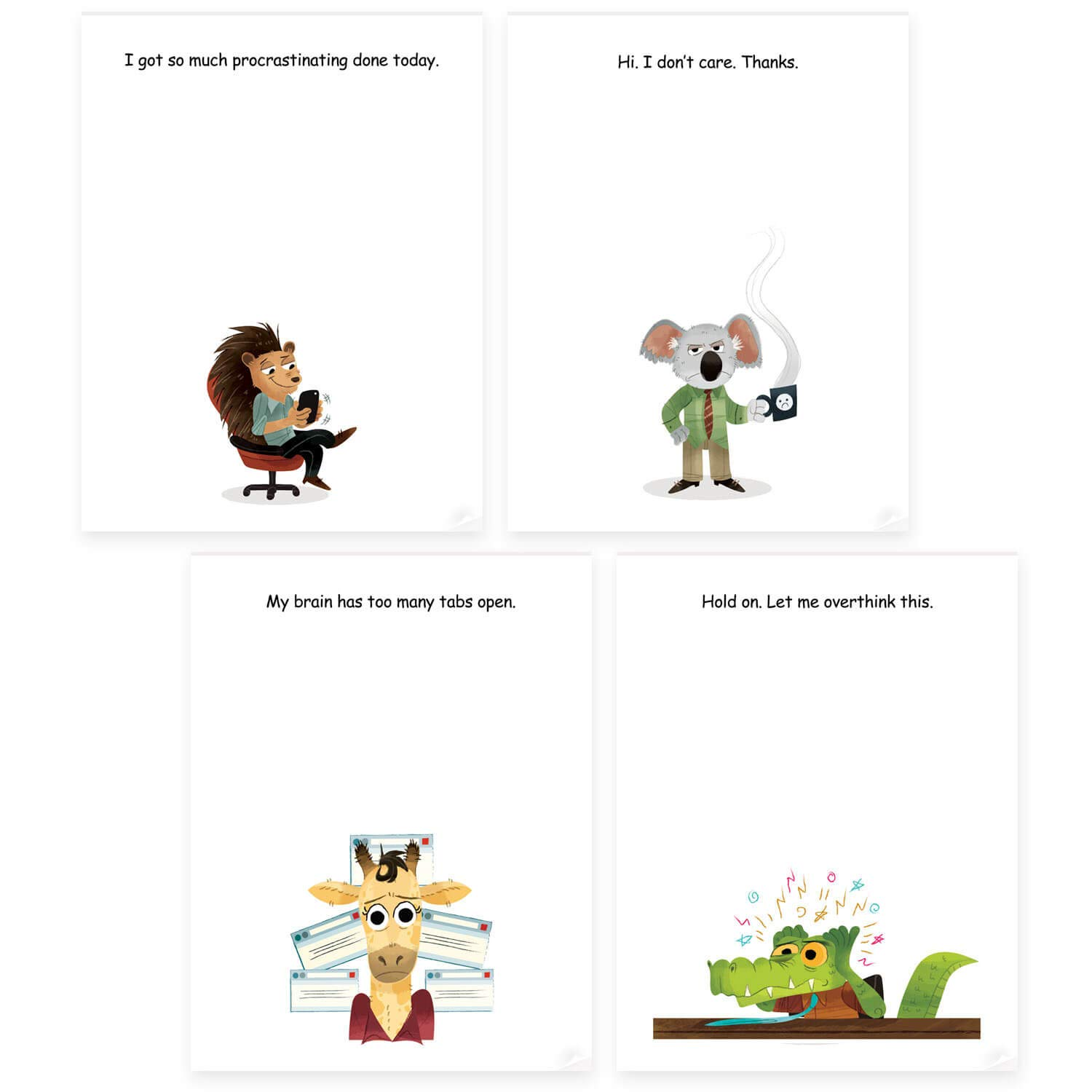 Funny Office Sticky Note Pads Bundle - 4 Fun Notepad Designs Perfect as Novelty Gag Gifts for Friends boss Coworker or Office memo Supplies