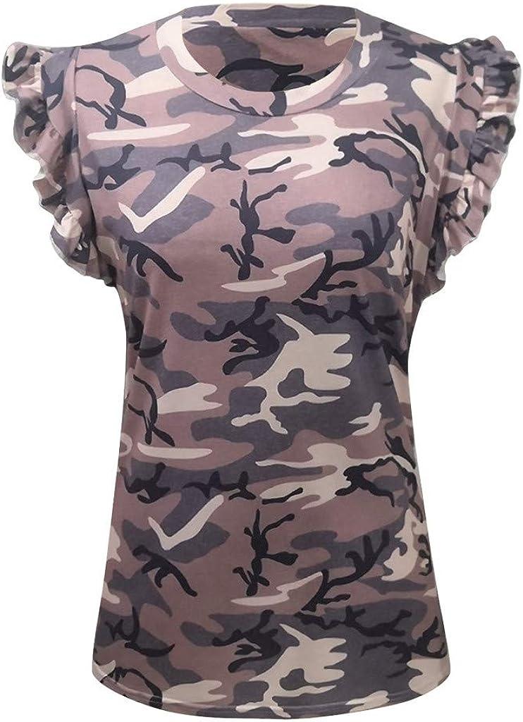Teresamoon Women Summer Camouflage Print Tank Tops Casual Sleeveless Shirts Blouses
