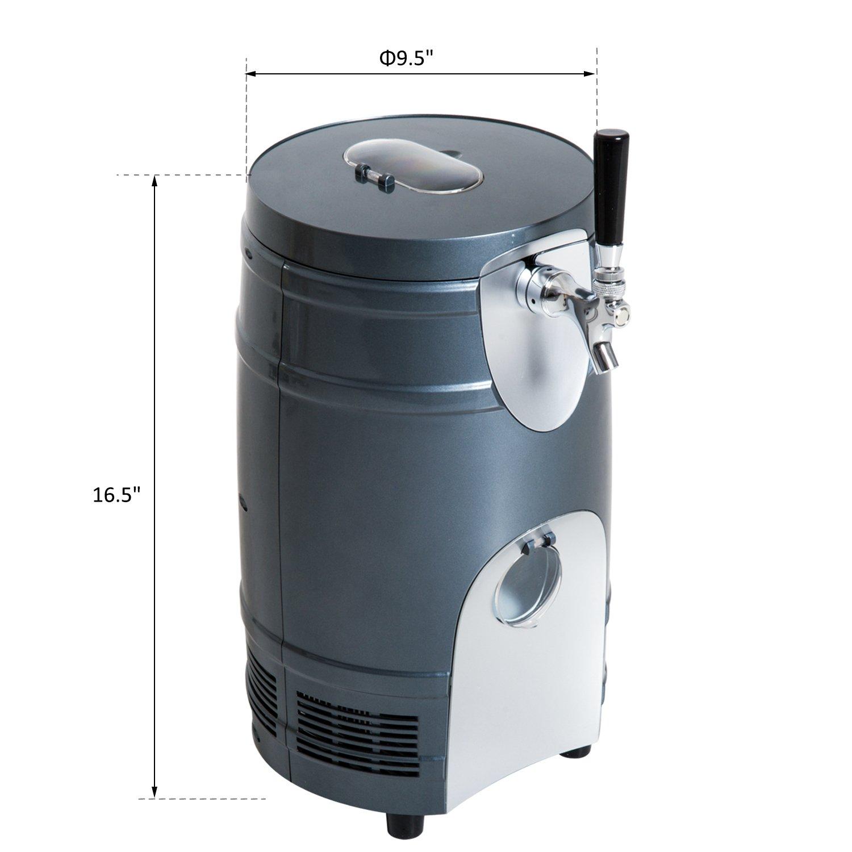 HOMCOM 5 Liter Mini Kegerator Beer Cooler Dispenser Portable -Black by HOMCOM (Image #5)