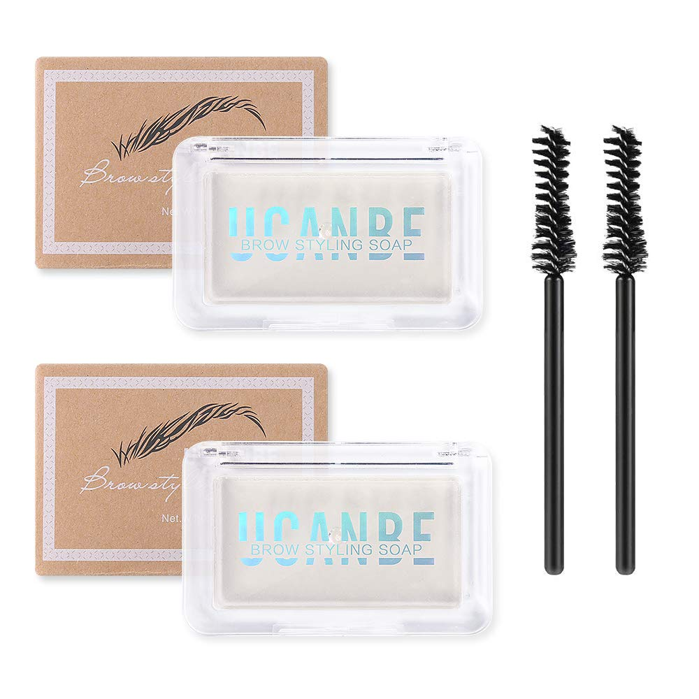 UCANBE 2PCS Eyebrow Soap Kit, Brow Styling Soap for 4D Natural Eye Brow Makeup, Long Lasting Waterproof Smudge Proof Eyebrow Cosmetics