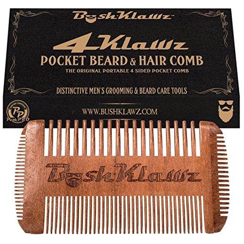 BushKlawz- 4Klawz Pocket Comb for Hair Beard Mustache & Side