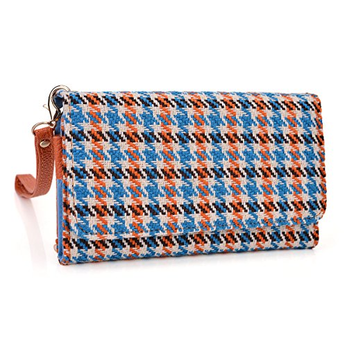 Blue and Orange Houndstooth Wristlet Wallet with Detachable Strap and Credit Card Holder fit Pantech Vega R3 IM-A850L