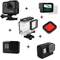Kingwon 6in 1kit di accessori per GoPro Hero 5camera protettiva trasparente subacquea + custodia telaio + cover in silicone + copriobiettivo + vetro temperato + filtro subacqueo per GoPro sport camera
