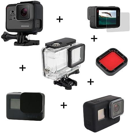 6 en 1 accesorios para GoPro Hero 5 4/3/3+Funda Cubierta impermeable+ Montaje de Marco + cubierta suave de silicona + tapa de la lente + Protector de ...