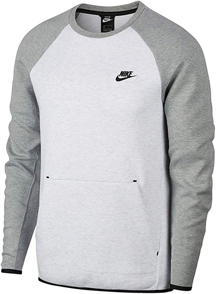 Nike Men S Sportswear Tech Fleece Crew Neck Shirt White Grey 928471 051 S At Amazon Men S Clothing Store