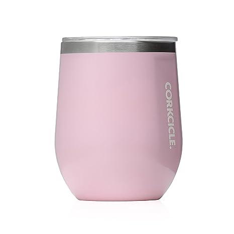 ab831a69a3b Amazon.com | Corkcicle 12 oz Triple-Insulated Stemless Glass (Perfect for  Wine) - Gloss Rose Quartz: Wine Glasses