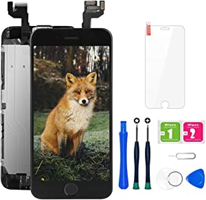 for iPhone 6s Screen Replacement, LCD Display Touch Digitizer Assembly with Proximity Sensor, Front Camera, Ear Speaker, Screen Protector and Repair Tool Kit (iPhone 6s Screen Black)