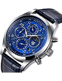 Men's Watches Blue leather chronograph waterproof watch date shows the analog Star Sport Quartz watch
