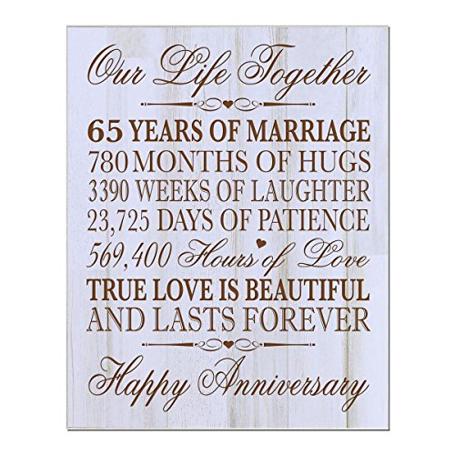 Personalized 65th Wedding Anniversary Wall Plaque Gifts for Couple parents, 65th Anniversary Gifts for Her,him Custom engraved 65th Wedding 12'' W X 15'' H Wall Plaque (Distressed White) by LifeSong Milestones