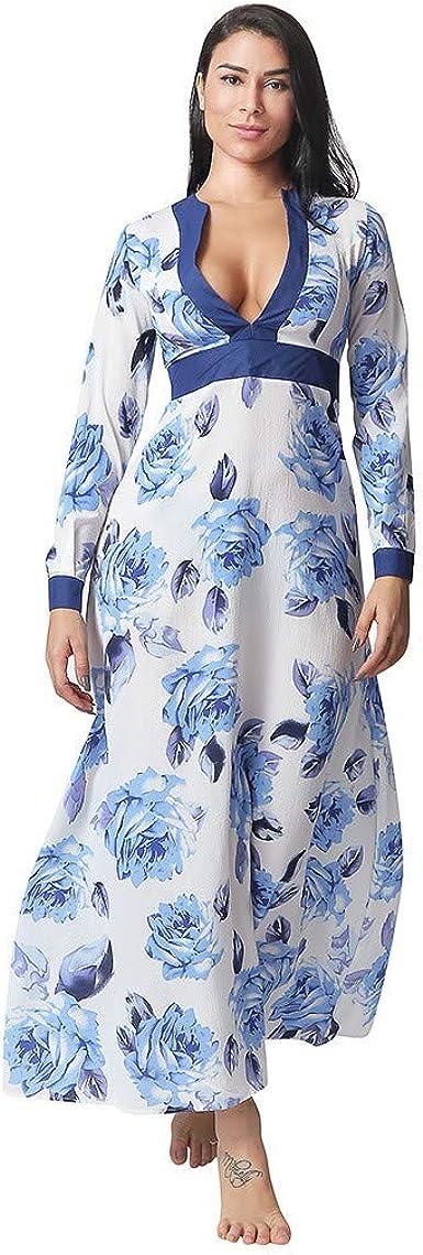 Vestito Lungo Elegante Vestiti Stampa Floreale Scollo a V Casual Mode Bohemian Abiti da Spiaggia Sera Cocktail Maxi Dress-Elecenty