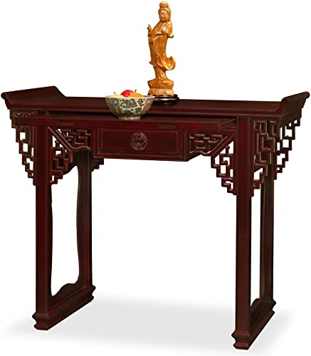 China Furniture Online Rosewood Console Table, 52 Inches Longevity Design Altar Style Dark Cherry Finish