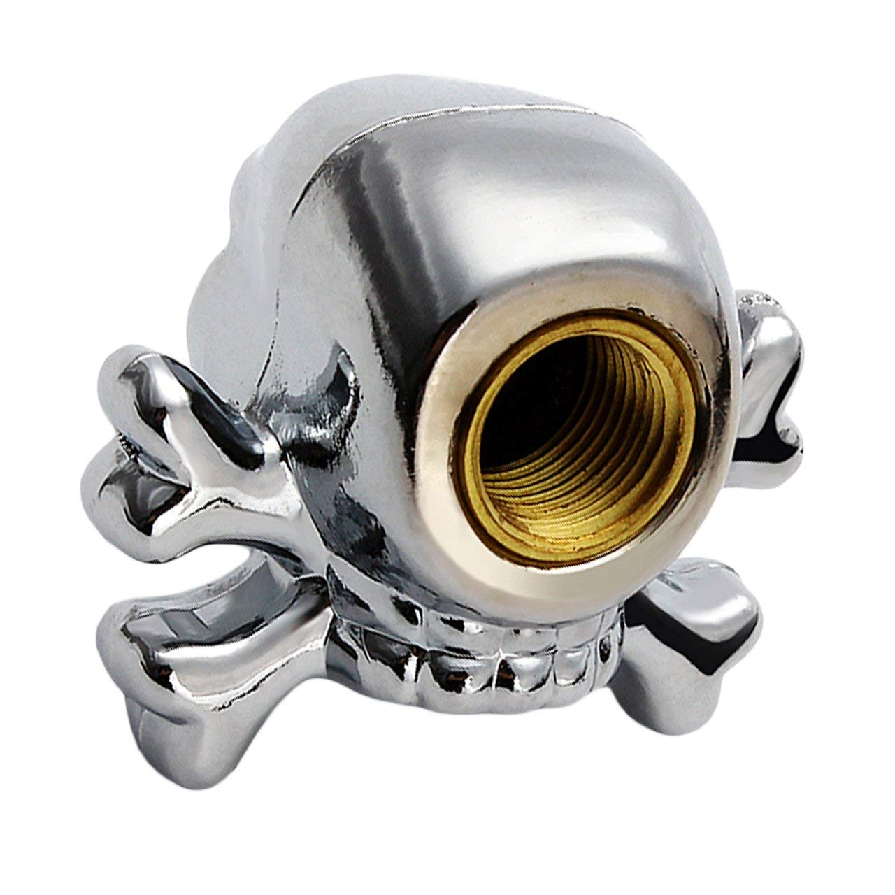 4 pcs Sliver Universal Fancy Pirate Skull Tire Tyre Air Valve Stem Caps for Auto Car Truck Motorcycle Bike Wheel Rims
