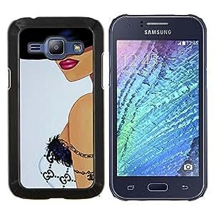 EJOOY---Cubierta de la caja de protección para la piel dura ** Samsung Galaxy J1 J100 ** --Mujer Sombrero Bra Labios Arte Sexy