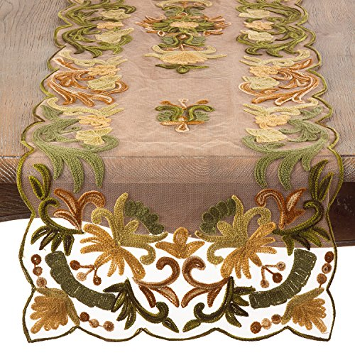 Green Embroidered Special Occasion Sheer Table Runner, 16