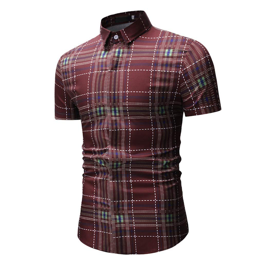 Men's Plaid Print Short Sleeve Slim Fit Button-Down Shirts Blouse with Pocket (Red, XL)