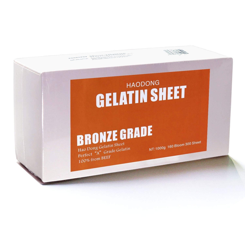 Haodong Beef Bronze Leaf Gelatin Sheets - 1KG/2.2LBS (300Sheets, 160Bloom) Gelatin Leaves for Baking Mirror Glaze Dessert Jellies Mousse Cake