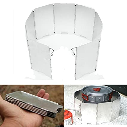 Metal 10 Plates Stove Windshield Camping Cooking Gas Stove Wind Shield Protect