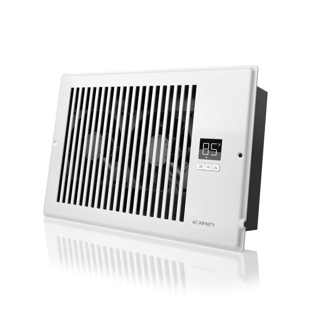"AC Infinity AIRTAP T6, Quiet Register Booster Fan with Thermostat Control. Heating Cooling AC Vent. Fits 6"" x 10"" Register Holes."