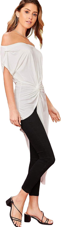 SheIn Womens Elegant Asymmetrical Twist Front Off Shoulder Top Plain High Low Blouse