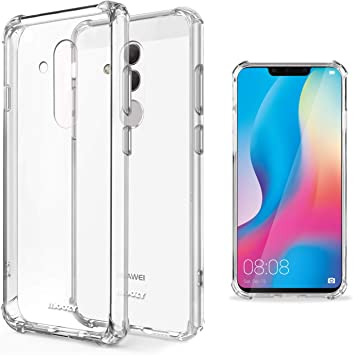 Moozy Coque Silicone Transparente pour Huawei Mate 20 Lite - Anti Choc Crystal Clear Case Cover Étui de Flexible Souple TPU