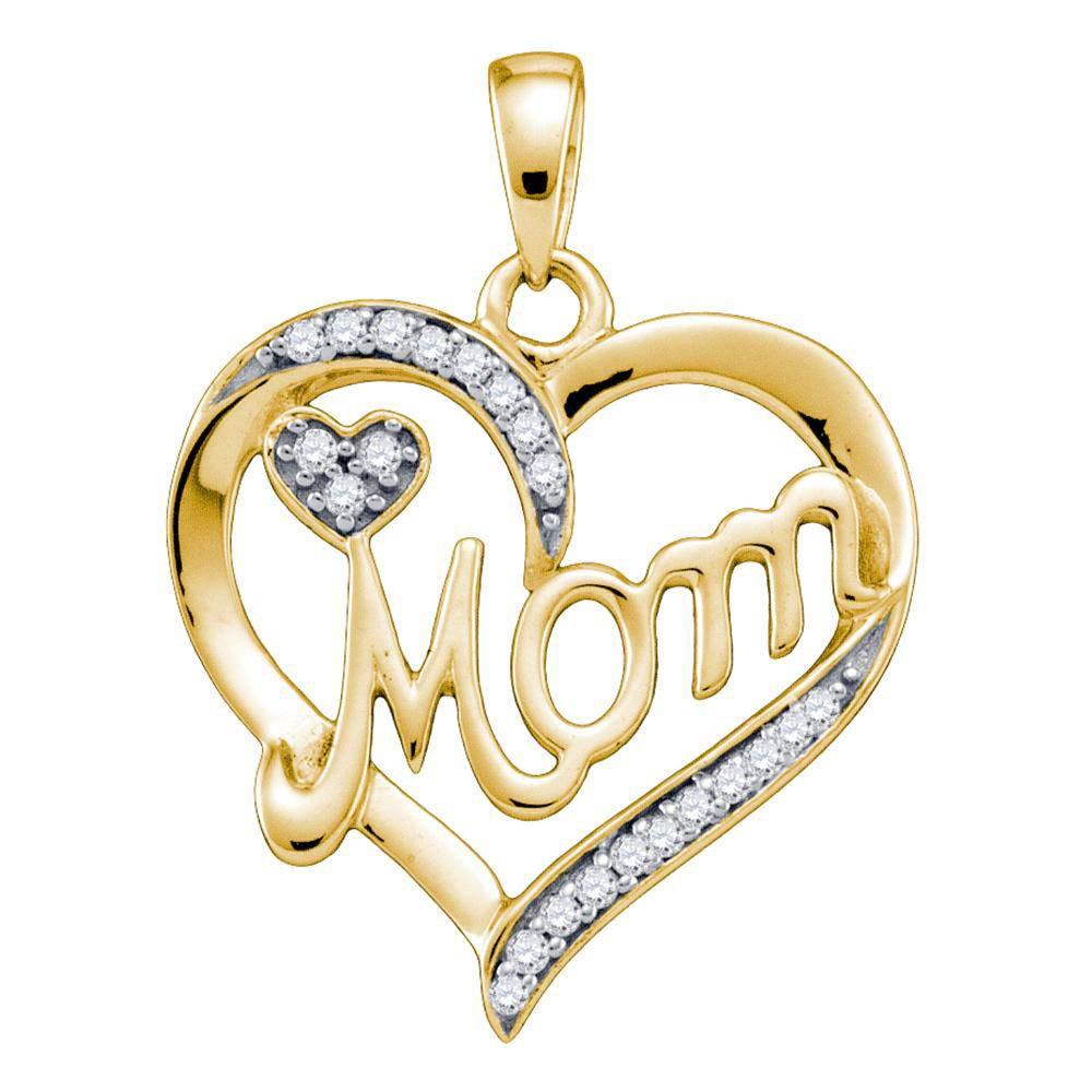 10k Yellow Gold Diamond Mom Mother Heart Pendant 1//10 ct