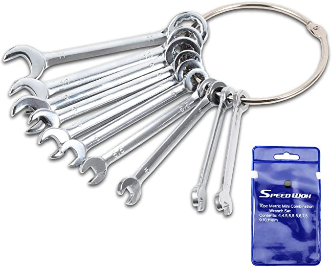 Andux Land 10pcs Mini Combination Wrench Set Open End and Box End SAE