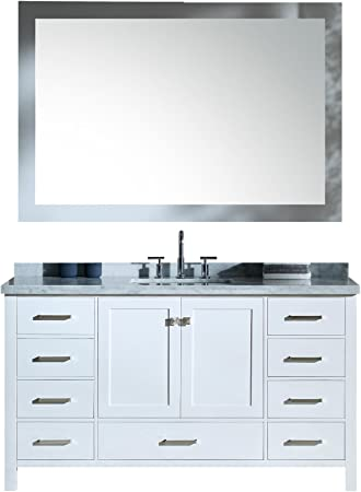 Amazon Com Ariel Cambridge A061s Cwr Wht 61 Inch Single Rectangular Sink Solid Wood White Bathroom Vanity Set With 1 5 Inch Edge Carrara Marble Countertop Kitchen Dining