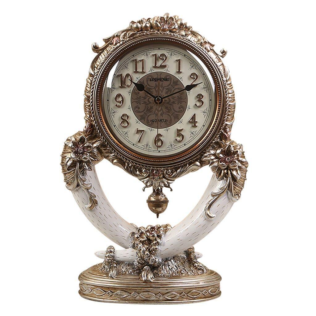 机上時計ファミリー用時計アイボリー置時計、樹脂製レトロ装飾なしリビングルームの寝室の装飾リビングルームの寝室に適していますオフィス(色:Bronze) B07THTQXF4 Bronze
