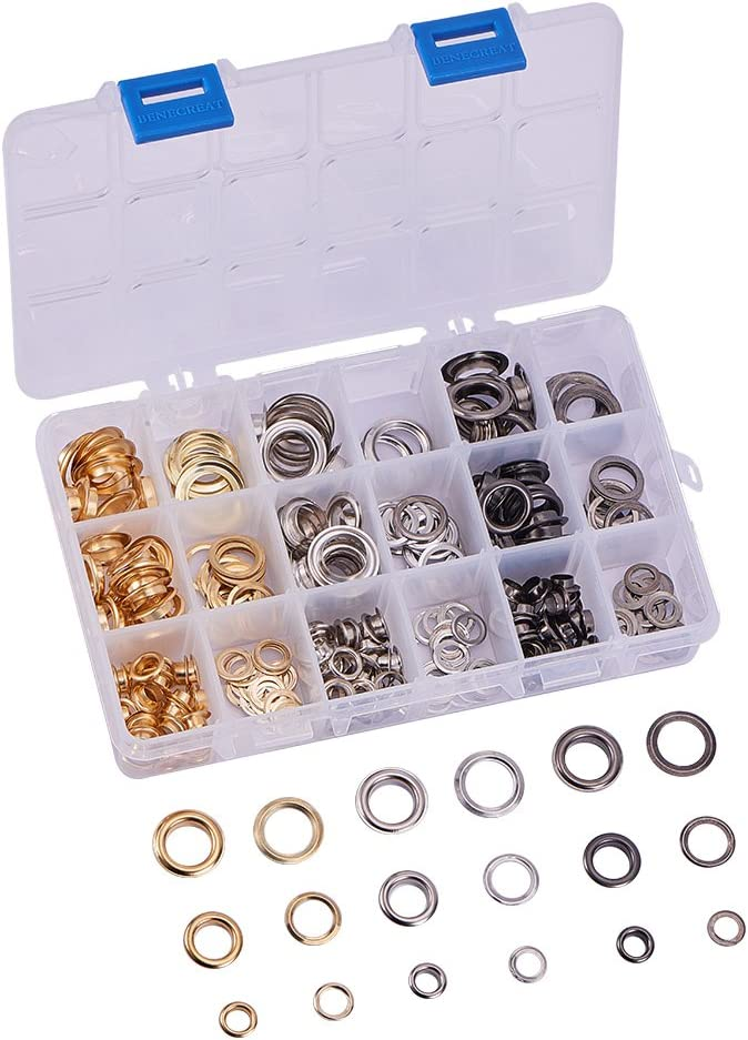 PandaHall Elite 180 Sets Grommet Eyelets Leather Rivet Repair Fasteners 1//4 2//5 1//2 Inch for Canvas Clothes and Leather DIY Craft 3 Colors
