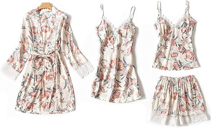 Nachtkleid und Kimono Set Aibrou Damen Einfarbige Chemise und Robe 2 St/ück Set