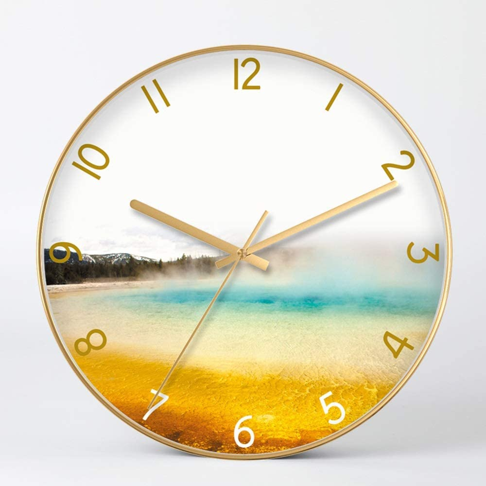 Yangmanini Modern and Simple Gold Frame Graphics Golden Beach Glass Wall Clock Minimalist Creative Personality Electronic Watches and Clocks, Metal Materials Mute Bell The Size of 35cm 35cm 4.5cm