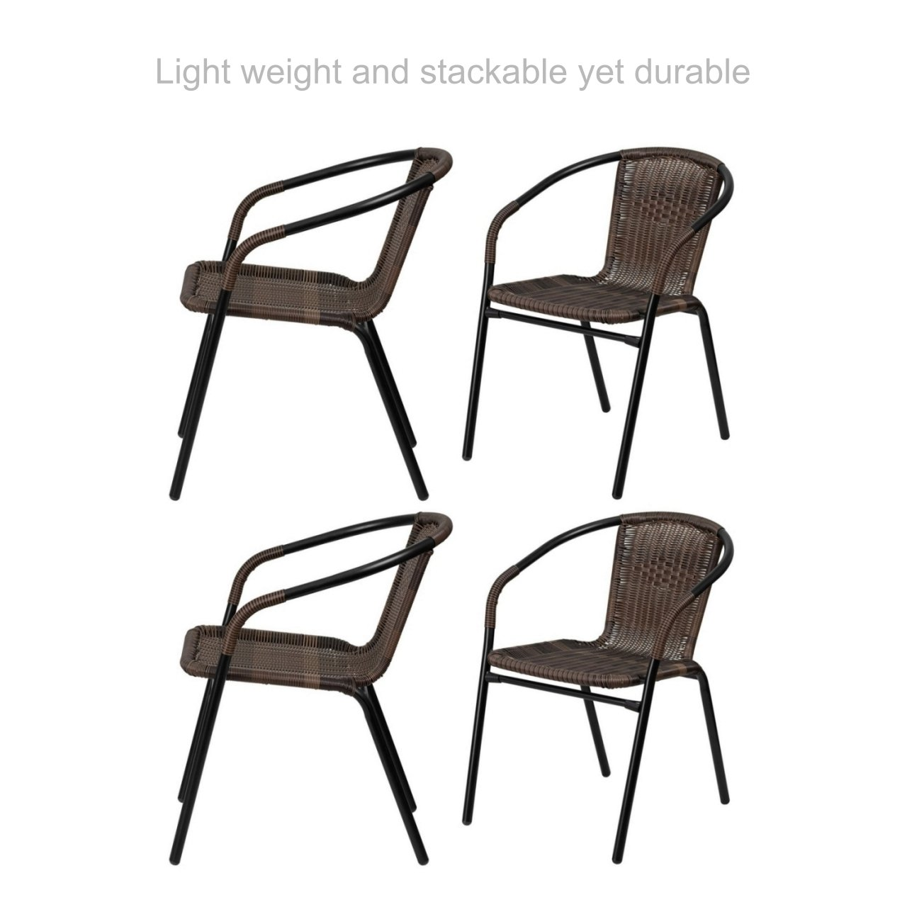 Koonlert@Shop Outdoo Indoor Stackable Rattan Chair Sturdy Steel Frame Durable Lightweight Comfortable Breathable Waterproof Material Home Garden Furniture - Set 0f 4 Brown #1783brw