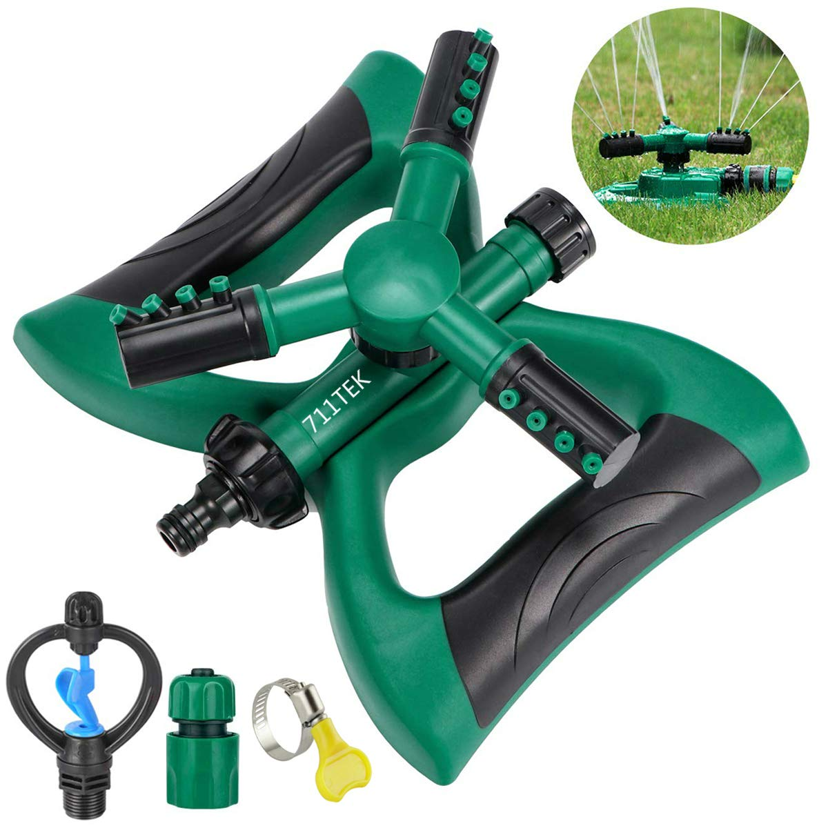 711TEK Garden Sprinkler Automatic Lawn Sprinkler Water Sprinkler Lawn Irrigation System 360 Degree Rotating Adjustable Oscillating Sprinkler for Garden Lawn Yard Kids (Sprinkler with Extra Head)