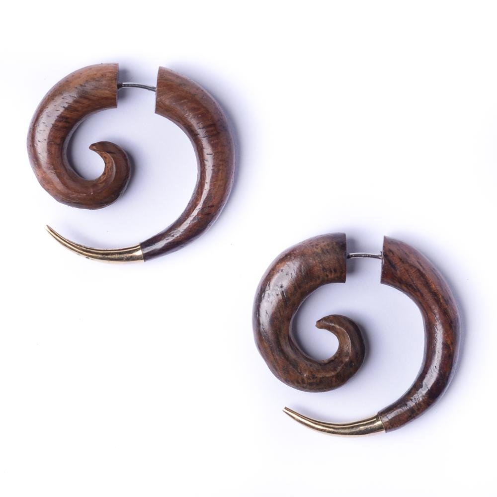 81stgeneration Women's Men's Wood Brown Brass Gold Tone 30 mm Spiral Fake Stretcher Tribal Earrings