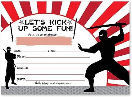 25 Ninja Karate Birthday Invitation, Taekwondo Warrior Themed Boy Girl Invite, Kids Parkour Martial Arts Style Bday Party Event Supply Idea, Chinese ...