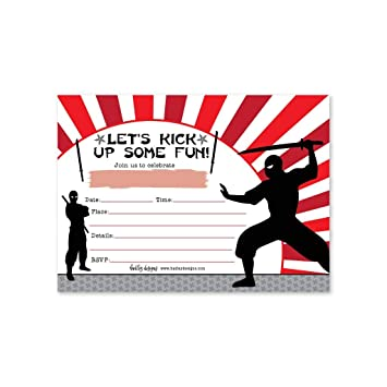 Amazon.com: 25 Ninja Karate Birthday Invitation, Taekwondo ...