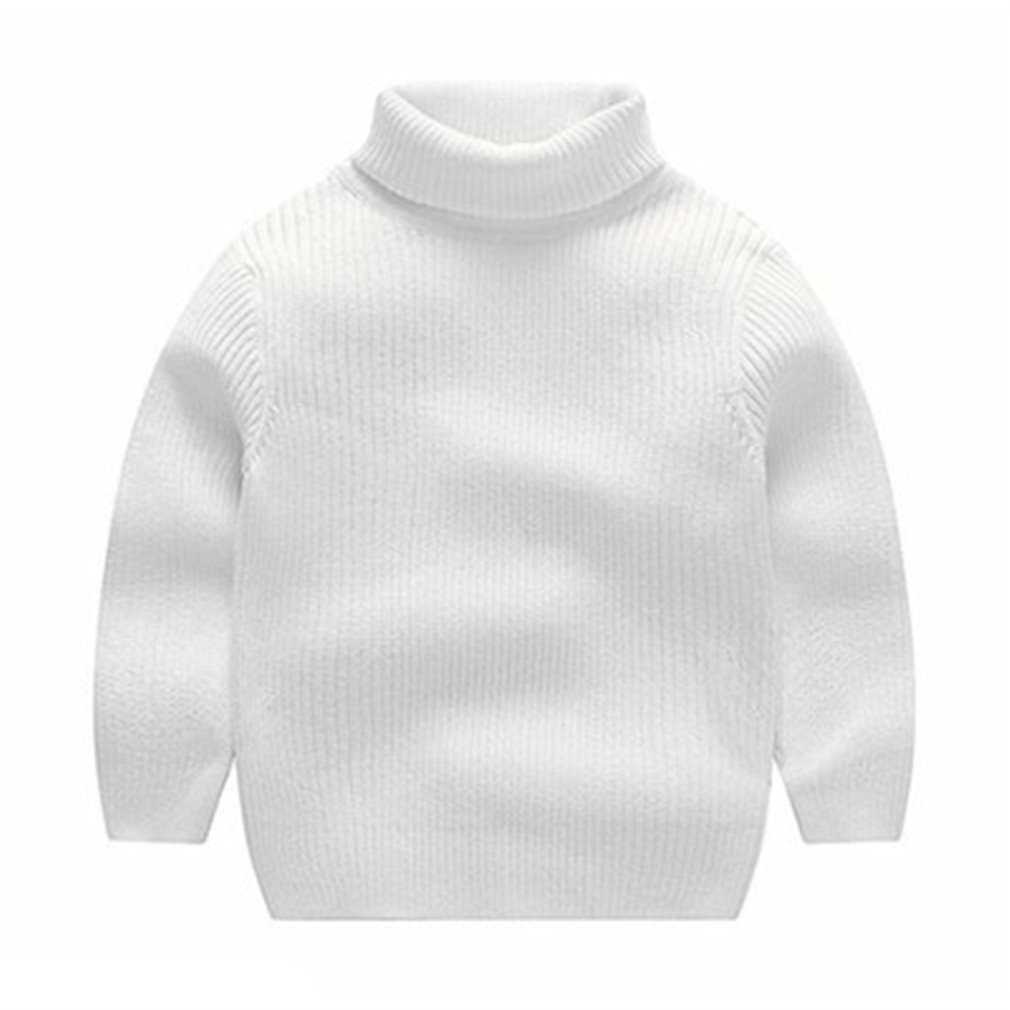 Kids Boys Turtleneck Fall Winter Solid Casual Pullover Sweater White 12M
