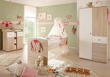 Babyzimmer Wiki 1 In Eiche Sonoma Weiss 3 Tlg Babymobel Komplett